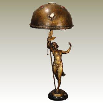 Fabulous German Signed Art Nouveau Dancer w/ Jeweled Copper Shade