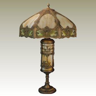 Huge Floral & Swan Slag Glass Lighted Base Lamp