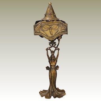 Marvelous Jugendstil Art Nouveau Figural Lamp w/ Slag Glass Shade