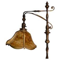 Fabulous High Quality Brass Arts & Crafts Bridge lamp w/ Mica Shade