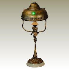 Jugendstil Art Nouveau Iris Lamp w/ Jeweled Brass Shade