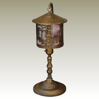 Asian Design Hanging Scenic Slag Glass Boudoir Lamp
