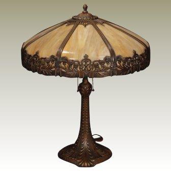 Large, Regal Art Nouveau Slag Glass Table Lamp