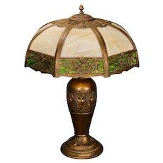 Very Large Gorgeous Pine Needle & Cone Slag Glass Lamp