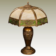 Very Large Gorgeous Pine Needle & Cone Slag Glass Lamp