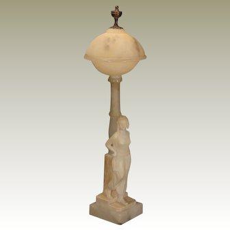 Marble & Alabaster Art Deco Harem Lady Lamp w/ Alabaster Shade