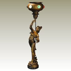 "Fabulous 33 1/2"" Tall L&F Moreau Art Nouveau Figural Lamp w/ Jeweled Brass Goblet Shaped Torchere Shade"