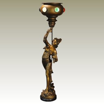 "Fabulous 33 1/2"" Tall L&F Moreau Art Nouveau Figural Lamp w/ Jeweled Brass Goblet Shaped Torchere Shade"