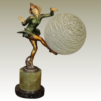 Fabulous Gerdago Art Deco Pixie w/ Threaded Glass Globe