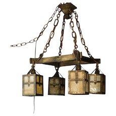 Bradley & Hubbard Arts & Crafts Iron & Brass Slag Glass Hanging Lamp