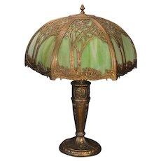 Very Large Tree Scenic Slag Glass Lamp
