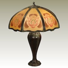 Very Large Elegant Bump Glass Reverse Painted Lamp