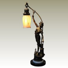 Large Art Nouveau Industrial Figural Lamp w/ Pulled Feather Shade