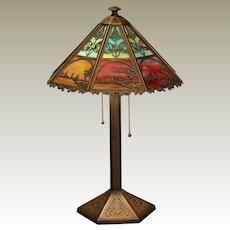 Bradley & Hubbard Arts & Crafts Scenic Murano Slag Glass Lamp