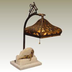 Art Nouveau Reclining Lady Lamp w/ Jeweled Cut Brass Mica Lined Shade
