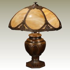 Large Handsome 7 Panel Slag Glass Lamp