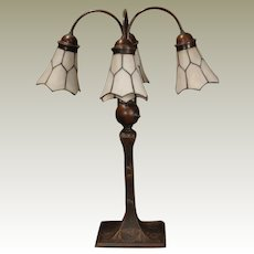 Tall 4 Shade Desk or Library Lamp w/ Leaded Etched Shades