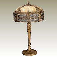 Gorgeous, Tall Miller Double Slag Glass Lamp