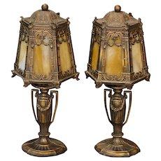 Pair Gothic Slag Glass Boudoir Lamps