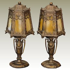 Pair Gothic Slag Glass Boudoir Lamps