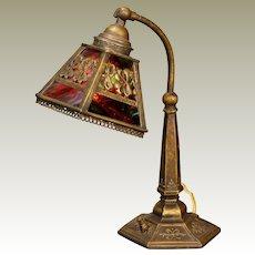 Fire Slag Glass 4 Leaf Clover Desk Lamp