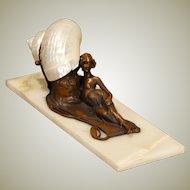 Alluring Art Nouveau Reclining Lady w/ Mini-Marmoratus Shell Shade