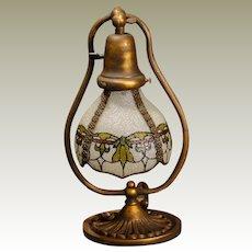 Adjustable Brass Harp Desk Lamp w/ Morgan Shade