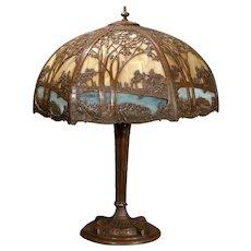 Large Empire Scenic Double Panel Slag Glass Lamp