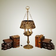 Solid Brass Spanish Style Bouillotte Desk Lamp w/ Mica Lined Shade