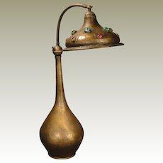 "Fabulous 28"" Tall Jugendstil Art Nouveau Jeweled Brass Lamp"