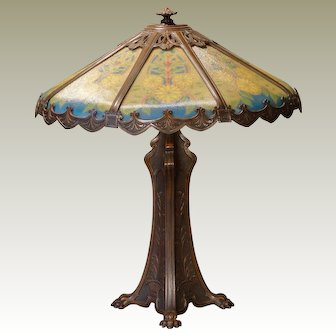 Large Outstanding Reverse Painted Clawfoot Lamp