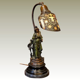 Gorgeous French Figural Lamp w/ Striking Glass Shade
