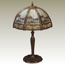 Exotic Empire Double Glass Desert Scenic Slag Glass Lamp