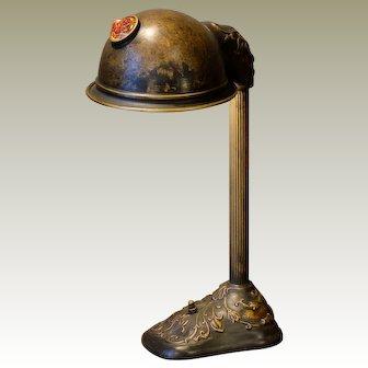 Stylish Jugendstil Art Nouveau Jeweled Brass Desk Lamp