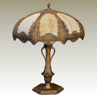Large Art Nouveau Plant/Medallion Slag Glass Panel Lamp