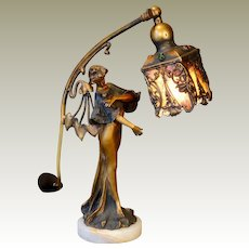 Exquisite Art Nouveau Bronze Figural Lamp w/ Jeweled Brass & Mica Shade