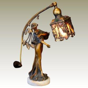 Exquisite Art Nouveau Bronze Figural Lamp w/ Jeweled Brass & Mica Shade