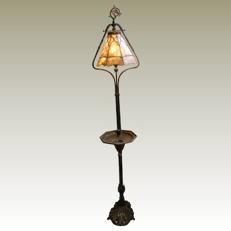 Arts & Crafts Wrought Iron Leaded Mica Floor Lamp