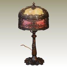 Ornate Art Nouveau Slag Glass Telephone Lamp