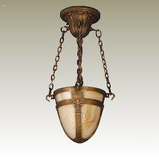 Hanging Brass Slag Glass Hall Lamp