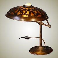 Jugendstil Art Nouveau Brass Desk Lamp w/ Jeweled Cut Brass Mica Lined Shade