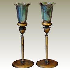 Gorgeous Pair Signed Pairpoint Art Nouveau Mantle/ Credenza Lamps