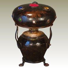 European Copper Jugendstil Jeweled Claw Footed Lamp
