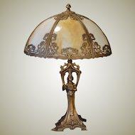 Fabulous Gothic Art Nouveau Figural Lamp w/ Slag Glass Shade