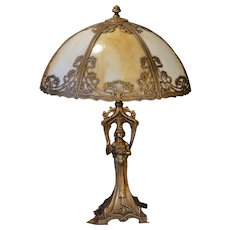 Fabulous Gothic Art Nouveau Figural Lamp w/ Slag Glass Shade