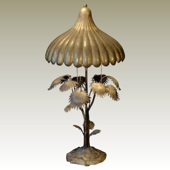 Unusual Bronze Palm Tree Lamp w/ Hammered Brass Shade