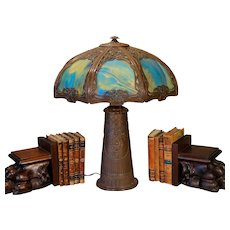 Large Art Nouveau Slag Glass Lamp w/ Tower Base