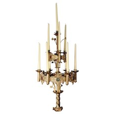 Huge Gothic Jeweled Cast Brass Candelabra