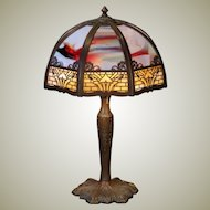 Dramatic Art Nouveau 24 Panel Slag Glass Lamp