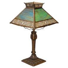 Stately Miller Double Panel Slag Glass Lamp